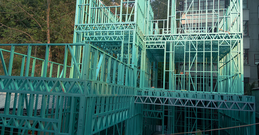 云南普洱墨黑镇轻钢房屋项目施工案例